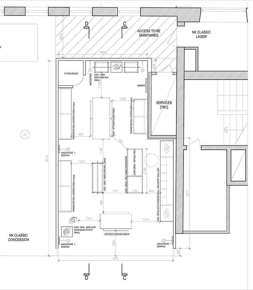 Clothing store floor plan
